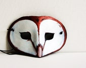 Leather Barn Owl Mask -Costume Play Masquerade - Woodlands Autumn Halloween
