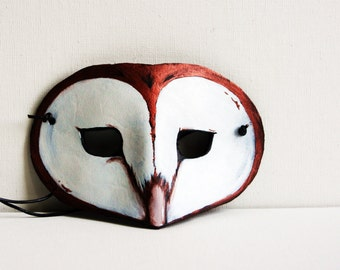 Leather Barn Owl Mask -Costume Play Masquerade - Woodlands Brown and White Summertime Birthday