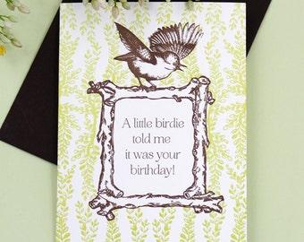 Little Birdie Birthday Card - Letterpress