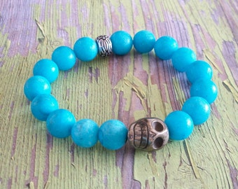 SKULL Bracelet Turquoise Blue Glass Beads with Metal Pewter Bead Stretchy Bracelet