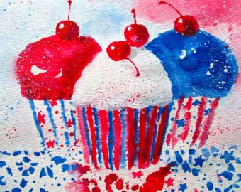 Watercolor Painting * RED, WHITE And BLUE Celebration Cupcakes * Art by Rodriguez