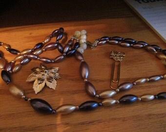 gold blue tube necklace plus