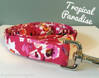 Pink Tropical Flowers Dog Leash
