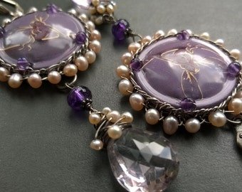 Fairy party - wire wrapped sterling silver earrings with amethyst gemstones and freshwater pearls