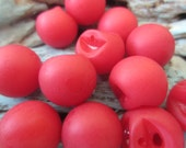 Vintage Buttons -  round ball, roly poly, lot of lipstick red matching celluloid lot of 12 buttons (june 65)