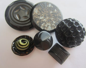 Vintage Buttons - Cottage chic mix of 6 novelty black large buttons, celluloid, old and sweet( apr 202)