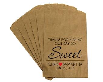 "Wedding Favor Bags - Rustic Victorian ""Sweet Day"" Wedding Reception Kraft treat bags candy buffet favor bags"