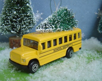 School bus with Christmas tree ornament