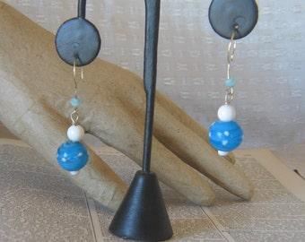 Handmade Turquoise and White Polkda Dot Glass Bead Earrings - AS