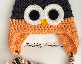 Newborn owl hat.. Peach and dark gray.. Photography prop... Ready to ship