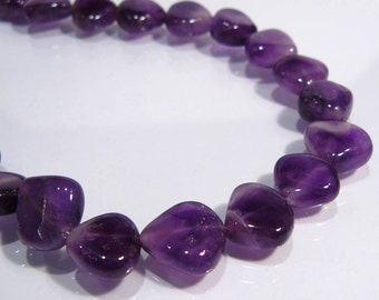 Cape Amethyst Briolette Smooth Puffed Gemstone Beads.....13-14mm.... 8 Beads