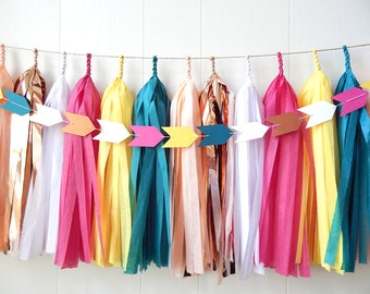 Free Shipping - Tassel Garland - Teal Peach Yellow Pink Copper White - Wedding decor - Bridal Shower - Nursery