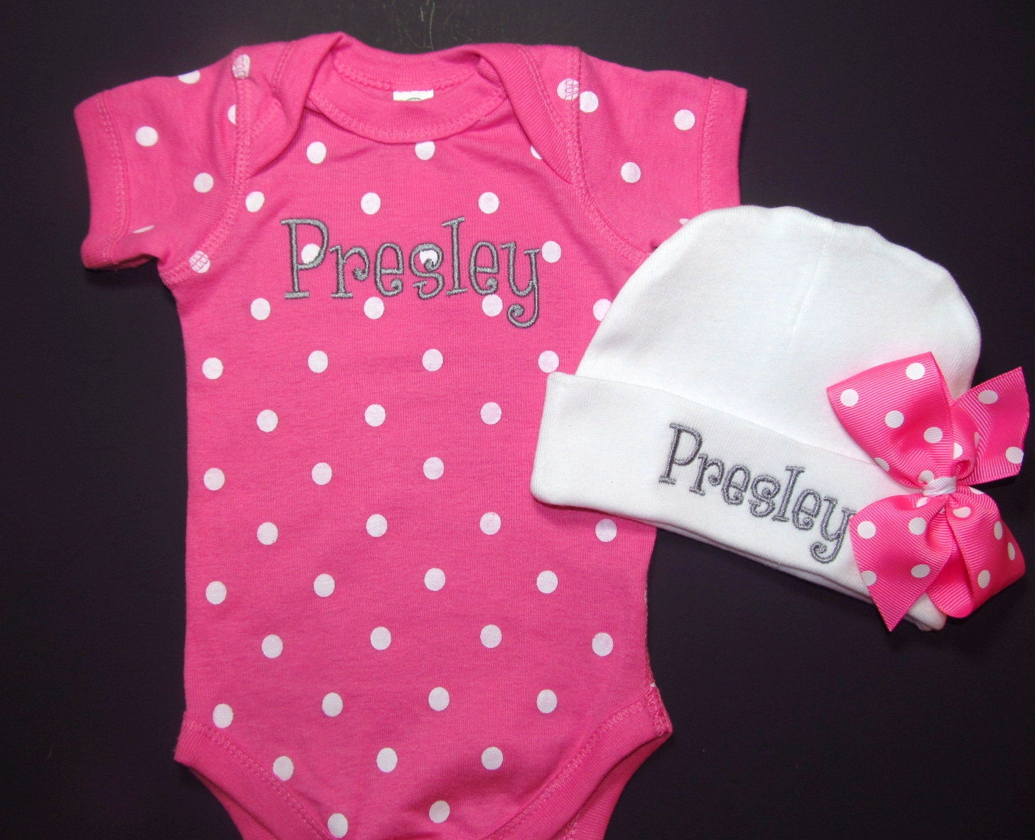 Baby Girls Clothing Sets Personalized Pink Polka Dot