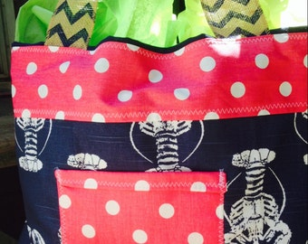 Beach bag, diaper bag, bridesmaids bags, lobster tote, lobster beach bag, beach tote, large tote, large bag, monogrammed tote, monogrammed