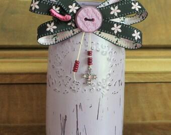 Lilac Painted Mason jar,vintage vase,pink flower ribbon,beaded decorations,Girls nursery decor,Baby shower,flower vase
