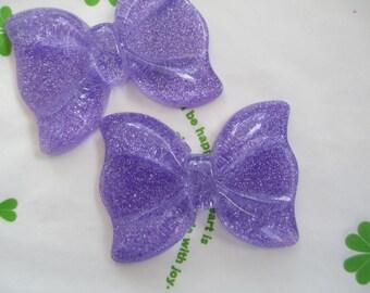 sale Large Glitter Bow 2pcs Purple 55mm x 41mm new item