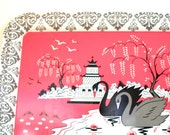 50's tin toy tea tray with Swans & Pagoda graphics by J Chein.