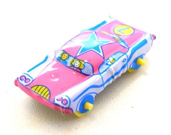 Tin toy car, Pink with blue star, Number 7, Japanese tin toy.