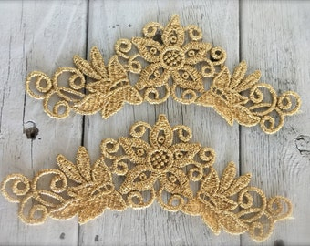 """GOLD or SILVER VENISE Applique set of 2-6"""" by 2 1/2"""""""