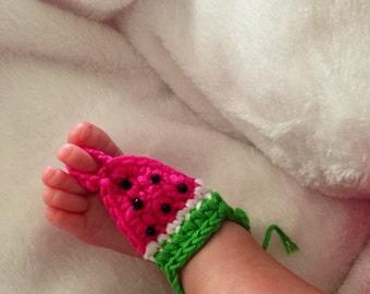 Crochet Baby Watermelon Barefoot Sandals Photo Prop Spring Summer