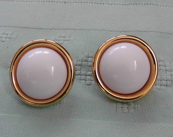 Vintage White Button Earrings