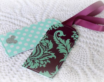 Damask -  Luggage Tag - Mint - Plum
