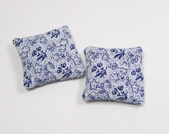 Blue White Floral Pillows Navy 1:12 Dollhouse Miniatures Scale Artisan