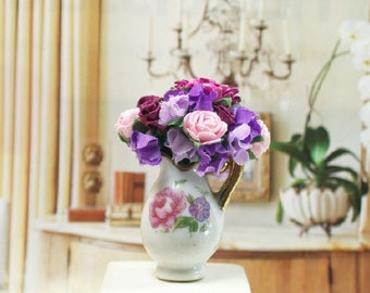 Pink Purple Flowers Pitcher Floral Arrangement 1:12 Dollhouse Miniature Artisan