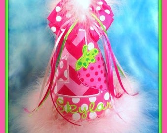 Strawberry Birthday Hat, or Strawberry First Birthday Hat, or Lemonade Birthday Hat,  You Choose Colors, by GINGHAM BUNNY