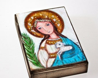Saint Agnes of Rome - Aceo Giclee print mounted on Wood (2.5 x 3.5 inches) Folk Art  by FLOR LARIOS
