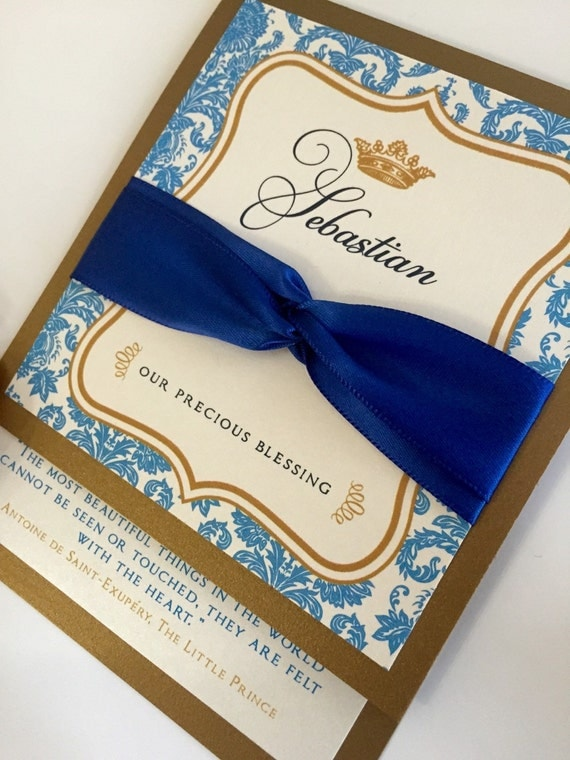 prince baby shower invitations royal blue by anaderoux on etsy