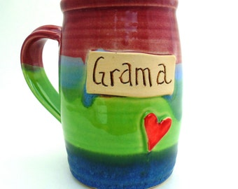 Handmade Pottery Mug Grama rainbow Tall Mug by Jewel Pottery