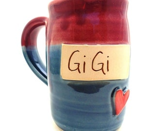 Handmade Pottery Mug ceramics and pottery GiGi in Burgundy and Blue by Jewel Pottery