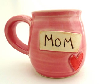 Handmade Pottery Mug Mom in Pink ceramics and pottery by Jewel Pottery