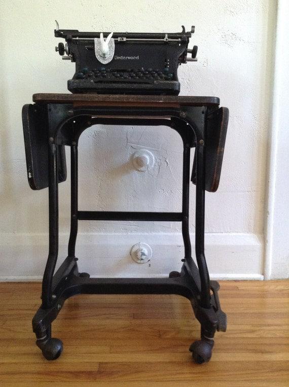 Vintage Modern Industrial Typewriter Table Stand Cart