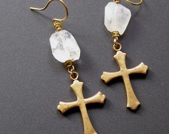 Cross Earrings, Vintage Brass Cross Earrings, Rustic Moonstone Earrings, Religous Symbol Earrings, Dangle Earrings