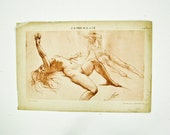 Erotic Nude Woman 1910,  Female Nude Lithographs