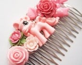 Pretty Pink Pony Floral Hair Comb -  Kitsch Cute Bright Chunky Chic Fun OOAK MLP