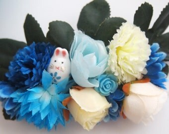 Blue Bunny Fairy Floral Barrette -  Statement Piece Unique Woodland Fantasy OOAK Fae Wedding