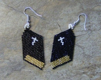 Bible Earrings Hand Made Seed Beaded