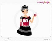 Woman with Christmas presents, digital PNG clip art (Aly 469)