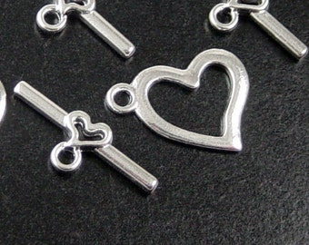 Toggle Clasp 6 Shiny Silver Heart Victorian Heart 19mm Bar 22mm (1056cla22s1)