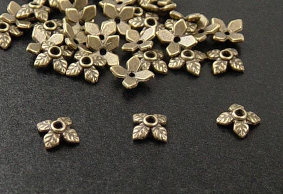 Bronze Bead Cap 50 Antique Bronze 4 Point Leaf 8mm x 2.5mm (1041cap08z1)