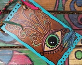 All Seeing Eye, Visionary Art, Hippie Singleton, Third Eye, Protective Eye, Recycled Wood painting, Peacock feather, Evil Eye, Wood painting