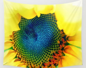 Solar Energy - Wall Tapestry, Wall Art , Fine Art Photography, Modern, Home, Nature, Flower, Sunflower, Wedding, Outdoor, Garden, Yellow