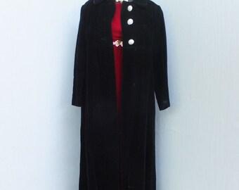 Vintage 1960s/70S Black Velvet Coat, Stevie Nicks, Long Velvet Maxi Coat, Boho, Long Opera Elegant w/Rhinestone Buttons