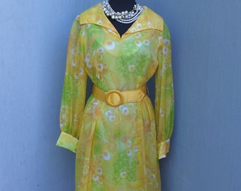 Vintage 1960s/70s Krist San Francisco, Yellow Floral Chiffon Dress, Party, Cocktail or Dinner Dress