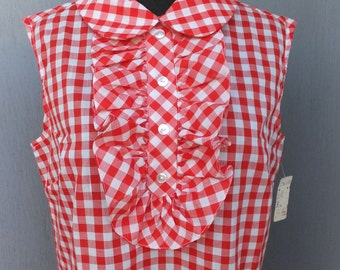 1950s Sears Roebuck and Co. Red and White Check Sleeveless Shift Dress /  New with Tag, size 13/14 / Picnic Dress