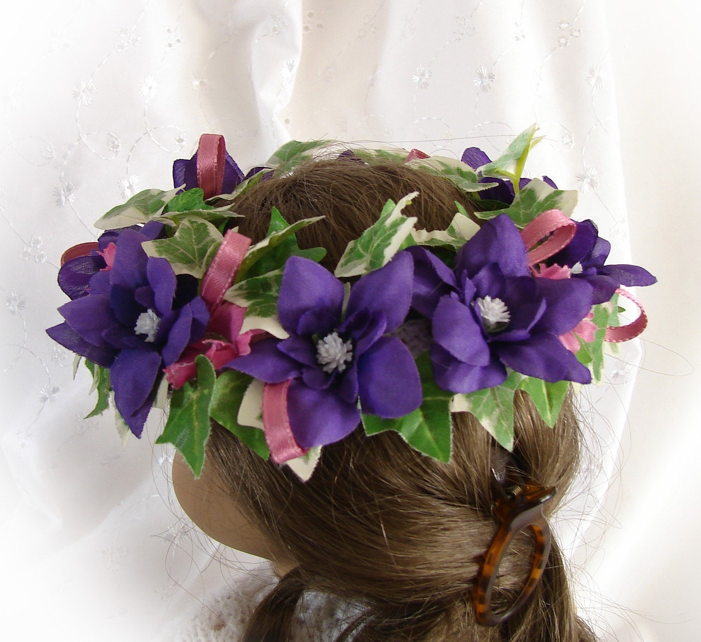 Flower Crown Purple: Doll Flower Crown Purple Pink Green And White By FocusonColor