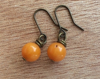 E585 Orange Jade Earrings